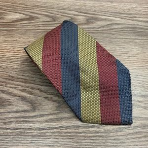 Burberry Gold, Red & Navy Check Stripe Tie